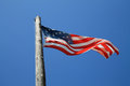 American flag and old pole Royalty Free Stock Photo