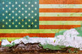 American flag painted on a concrete wall. Flag of United States of America. Textured abstract background