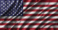American flag painting on high detail of wave cotton fabrics . Royalty Free Stock Photo