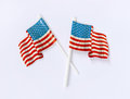 American flag party favors two plastic on white Stock Photo