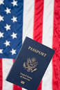 American flag and passport Royalty Free Stock Image