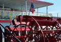 American Flag and Red Paddle Wheel Boat Royalty Free Stock Photo