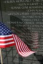American Flag Reflection on Vietnam Wall Royalty Free Stock Image