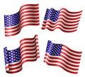 American flag set Royalty Free Stock Photo