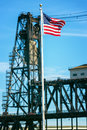 American Flag and Steel Bridge Royalty Free Stock Photo