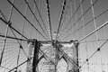 American flag top famous brooklyn bridge new york Royalty Free Stock Image