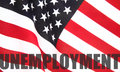 American flag with unemployment word Royalty Free Stock Photo