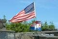 American flag on vehicle top Stock Image