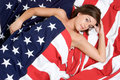 American Flag Woman Royalty Free Stock Photography