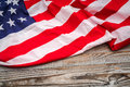American flag on wood background . Royalty Free Stock Photo