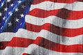 American flag on wooden hedge Stock Image