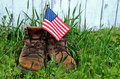 American flag in work boot man s Royalty Free Stock Photography