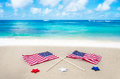 American flags on the beach with stars Royalty Free Stock Images