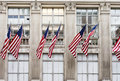 American flags on a building Royalty Free Stock Photo
