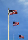 American flags flying high in sunny day Royalty Free Stock Image