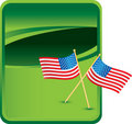 American flags on green background Stock Photos