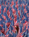 American flags in the memory of fdny firefighters who lost their life on september at home based memorial brooklyn Stock Images