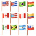American flags north and south america Royalty Free Stock Photo