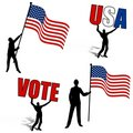 American Flags Vote USA Silhouettes Stock Images