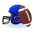 American football with ball and helmet Royalty Free Stock Photography