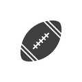 American football ball icon vector, filled flat sign, solid pictogram isolated on white. Royalty Free Stock Photo