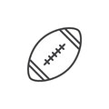 American football ball line icon, outline vector sign, linear style pictogram isolated on white