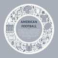 American football banner with line icons of ball, field, player, whistle, helmet and other sport equipment. Vector