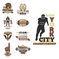 American football championship badge template for sport team with ball logo competition vector.
