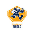 American football conference finals shield retro illustration of an gridiron running back player running with ball facing front Royalty Free Stock Photos