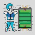 American football court with clothes element Royalty Free Stock Photo