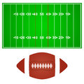 American football field with ball on a white background Royalty Free Stock Photo