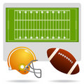 American football field and object Royalty Free Stock Photos