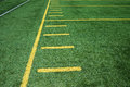 American football field sideline on artificial turf with hash marks Royalty Free Stock Photo