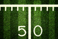 American Football Field 50 Yard Line Closeup Royalty Free Stock Photo