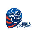 American football finals champions retro illustration of an gridiron rushing running back player running with ball facing side set Royalty Free Stock Image