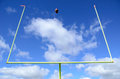 American football and goal posts field Royalty Free Stock Photo