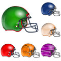 American football helmets collect detailed easy to change colors vector isolated on white background Royalty Free Stock Images