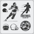 American Football labels, emblems and design elements. Football player, balls and helmets.