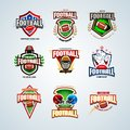 American football logo templates set and badges, crests and t-shirt, label and emblem, t-shirt and icons
