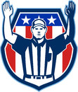 American football official referee touchdown illustration of an with hand pointing up for a facing front set inside crest shield Royalty Free Stock Images