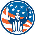American football official referee touchdown illustration of an with hands up for a facing front set inside circle with stars and Stock Photography