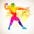 American football player bright rainbow silhouette and fans on grunge background vector illustration Royalty Free Stock Photography
