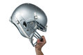 American football player handing his sliver helmet Royalty Free Stock Photo