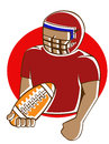 American Football Player Holding Ball Cartoon