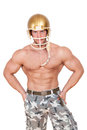 American football player isolated sexy shirtless caucasian on white background muscular young man wearing helmet Stock Images