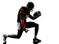 American football player joyful celebrating silhouette one in shadow on white background Royalty Free Stock Images