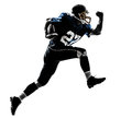 American football player man running silhouette one caucasian in studio isolated on white background Stock Images