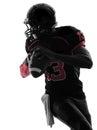 American football player quarterback portrait silhouette Royalty Free Stock Photo