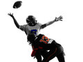 American football player quarterback sacked fumble silhouette two players in shadow on white background Stock Images