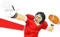 American Football Player Quarterback Throwing Ball Royalty Free Stock Photo